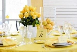 yellow table setting